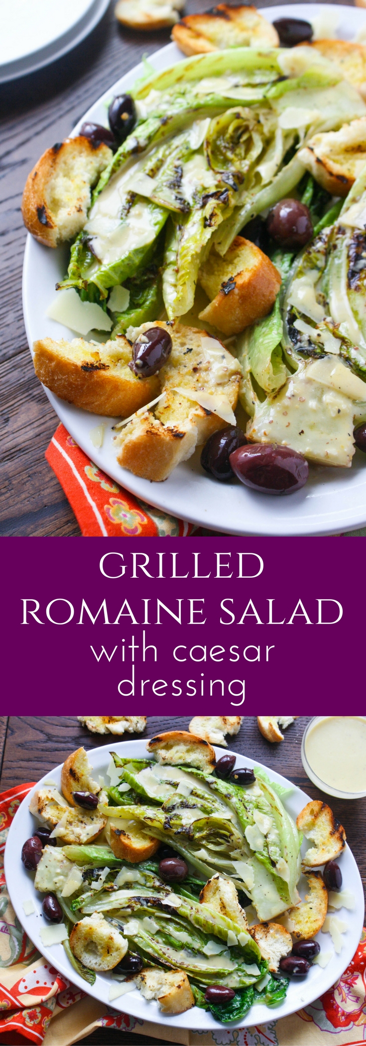 Grilled Romaine Salad with Caesar Dressing is a fabulous salad to serve any time of year. Grilling adds a great flavor along with the (eggless) dressing!