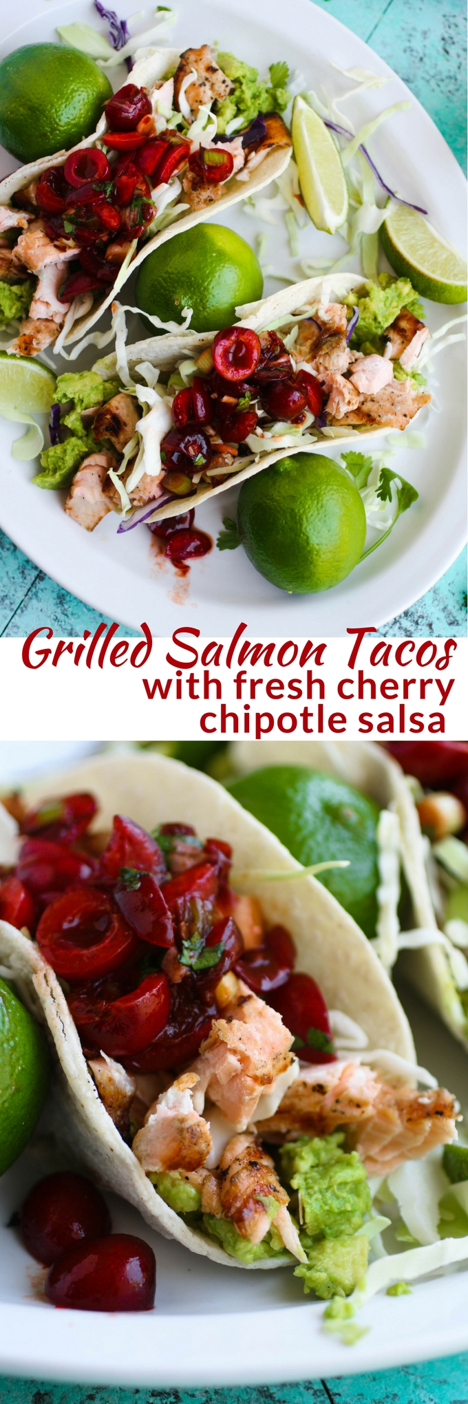 Grilled Salmon Tacos with Fresh Cherry-Chipotle Salsa is a great summer dish. It may become your favorite tacos and salsa to serve!