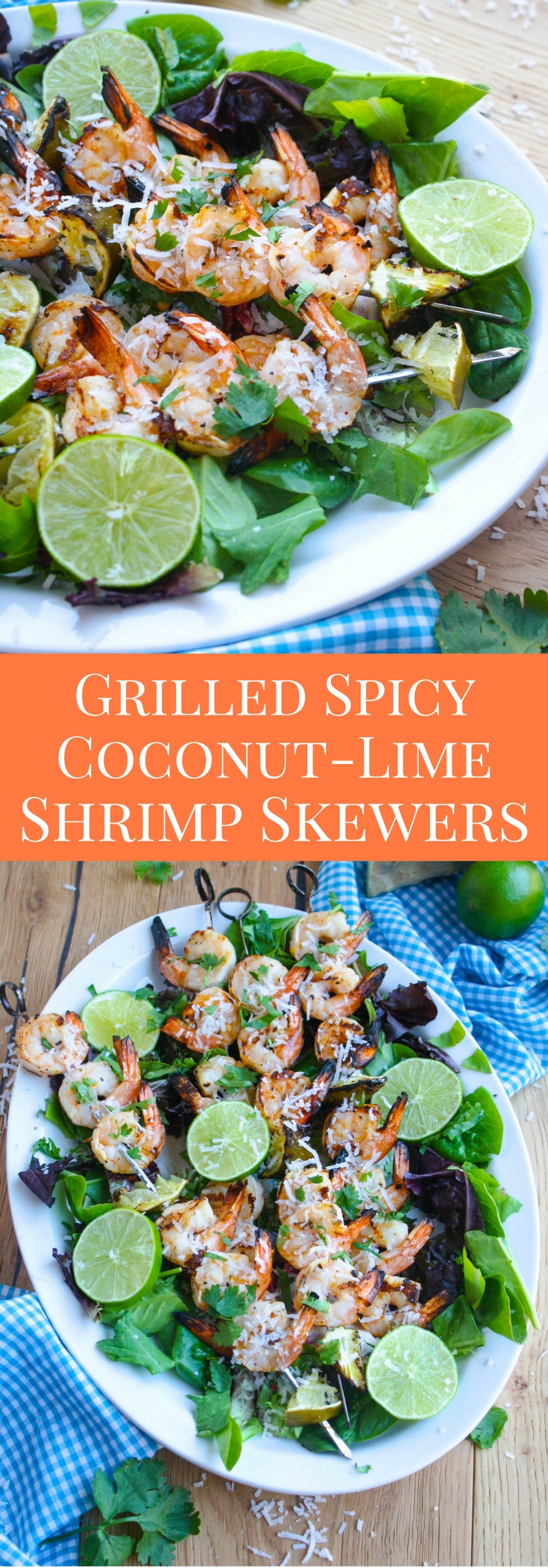 Grilled Spicy Coconut-Lime Shrimp Skewers are one of summer grilling season's stars! Big flavor and little fuss make this dish a winner!
