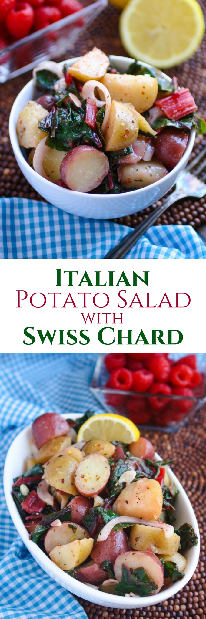 Italian Potato Salad with Swiss Chard is party-perfect. Make this side dish all summer long! It's big on flavor and has a healthier twist than the traditional kind.