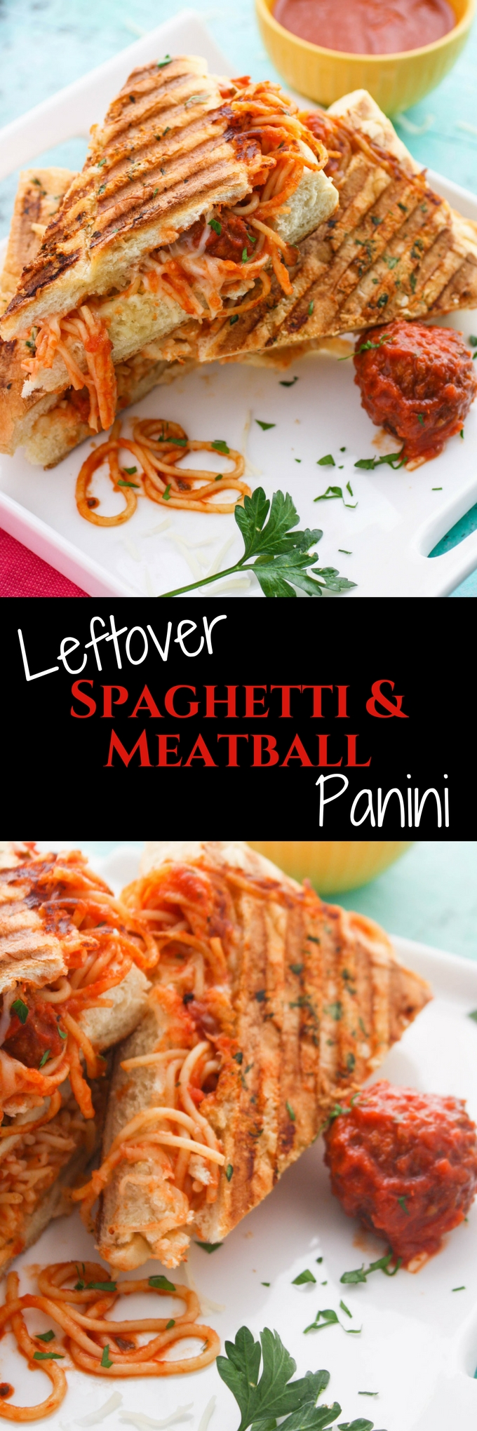 Leftover Spaghetti & Meatball Panini is a fun dish to use up last night's dinner! You'll love this fun dish!