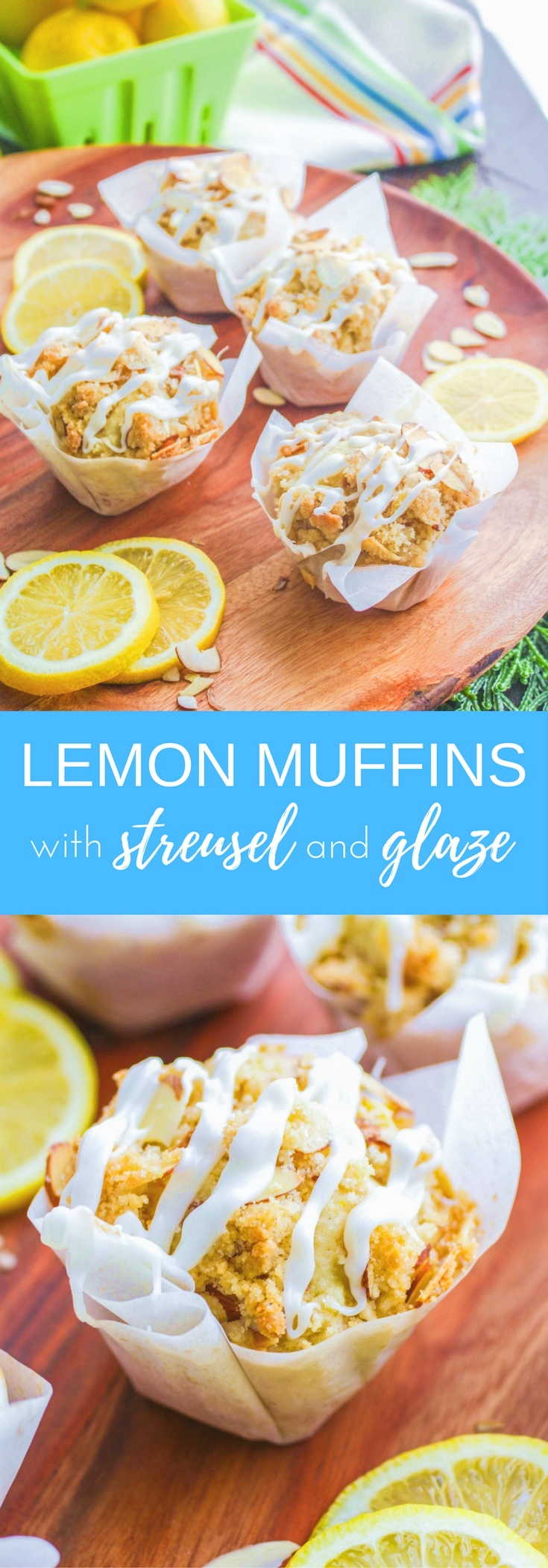Lemon Muffins with Almond Streusel and Glaze are a lovey start to your day. Lemon muffins are bright and delicious!