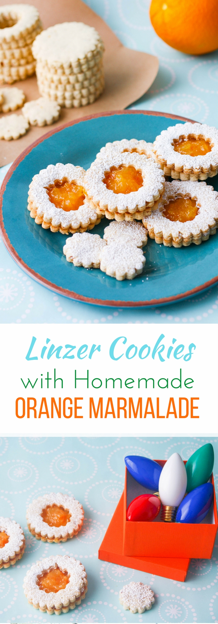 Linzer Cookies with Homemade Orange Marmalade are a fun and tasty treat! These linzer cookies are lovely for the holiday season.
