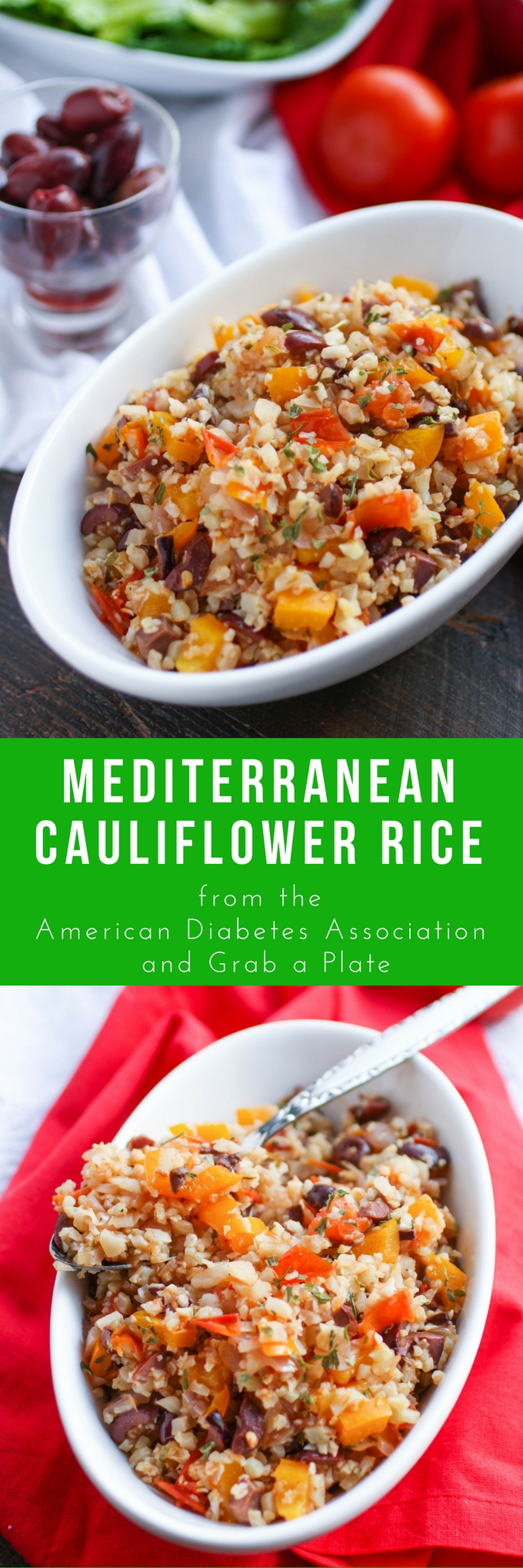 Mediterranean Cauliflower Rice is a wonderful and healthy side dish that's perfect with any meal. You'll love the flavors in this cauliflower rice dish!