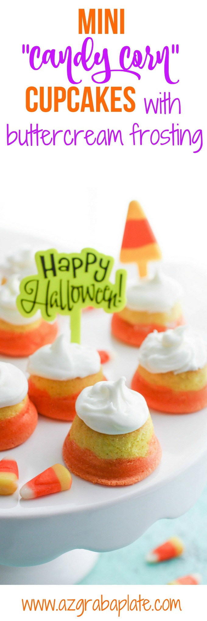 "Mini ""Candy Corn"" Cupcakes with Buttercream Frosting make a fun Halloween dessert. You'll love the looks of these cupcakes, and they taste amazing!"