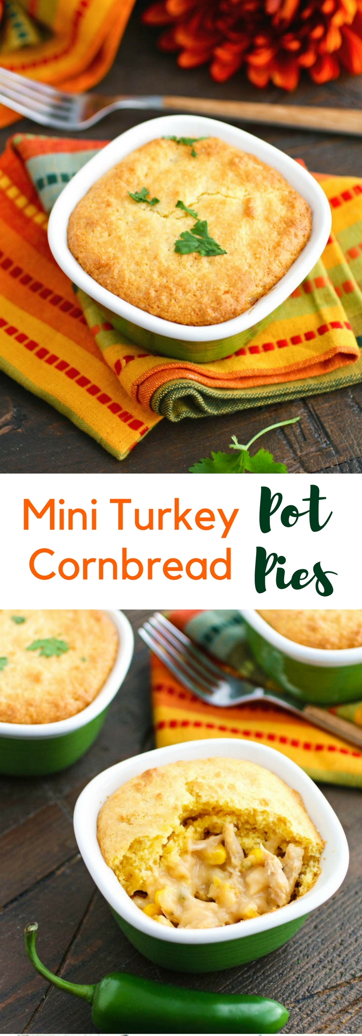 Mini Turkey Cornbread Pot Pies are a fun way to use up your leftover Thanksgiving turkey! You'll love these pot pies!