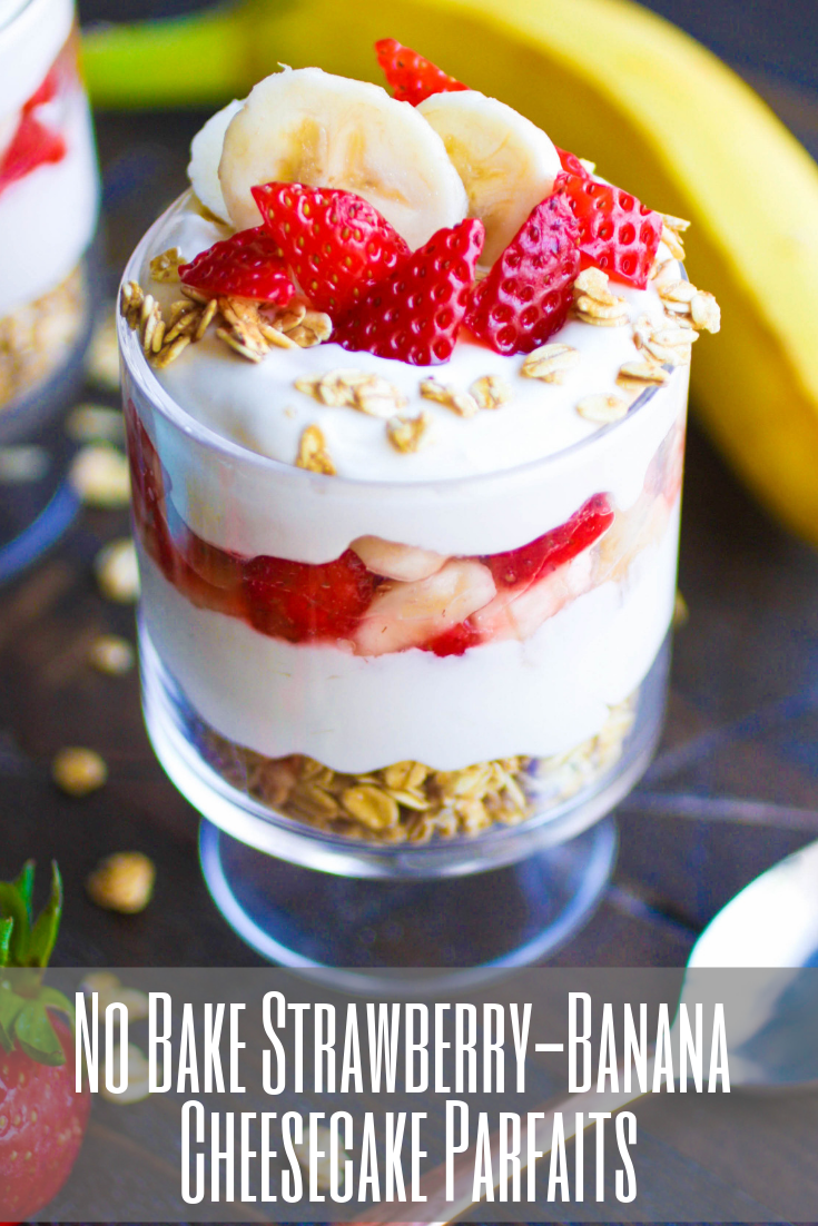 No Bake Strawberry-Banana Cheesecake Parfaits are a delightful dessert, for sure! Make a few No Bake Strawberry-Banana Cheesecake Parfaits for a delightful dessert!
