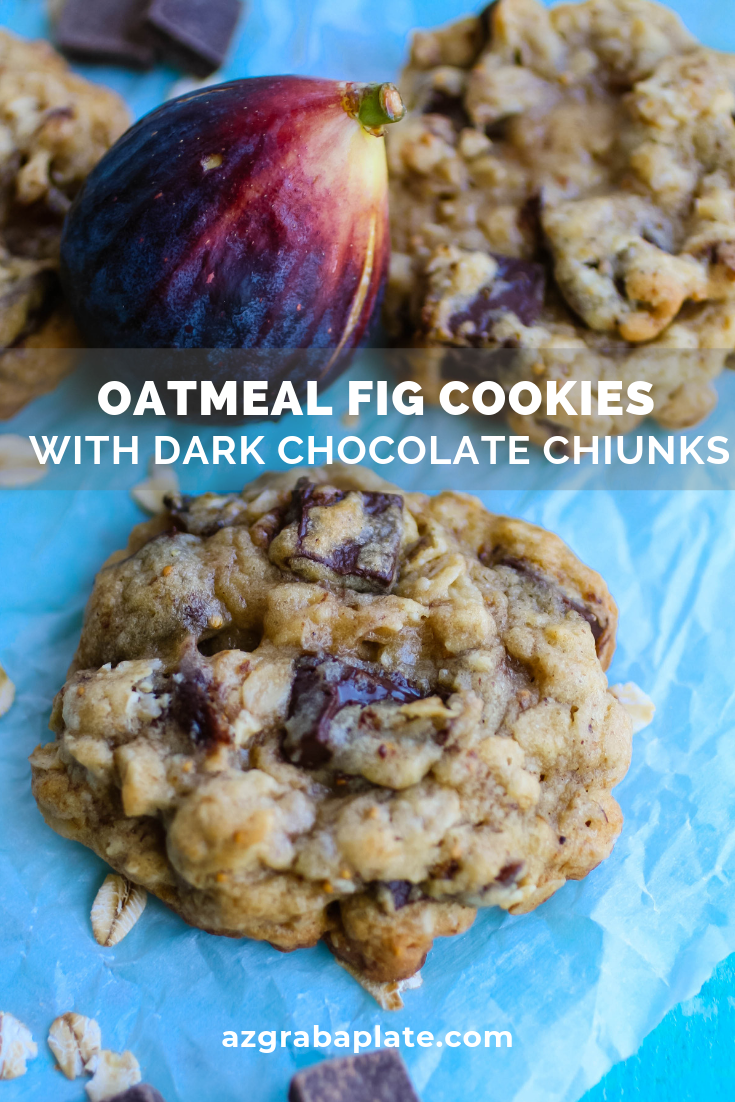 Oatmeal fig cookies with dark chocolate chunks are such flavorful, thick, and soft cookies! You'll love the flavor in these thick Oatmeal fig cookies with dark chocolate chunks.