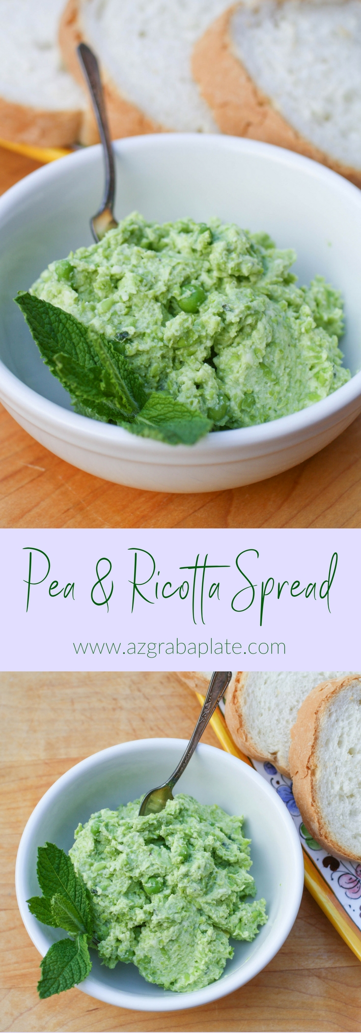 Pea and Ricotta Spread is a fresh and flavorful appetizer that's perfect for spring! You'll enjoy the fresh flavor in this Pea and Ricotta Spread!