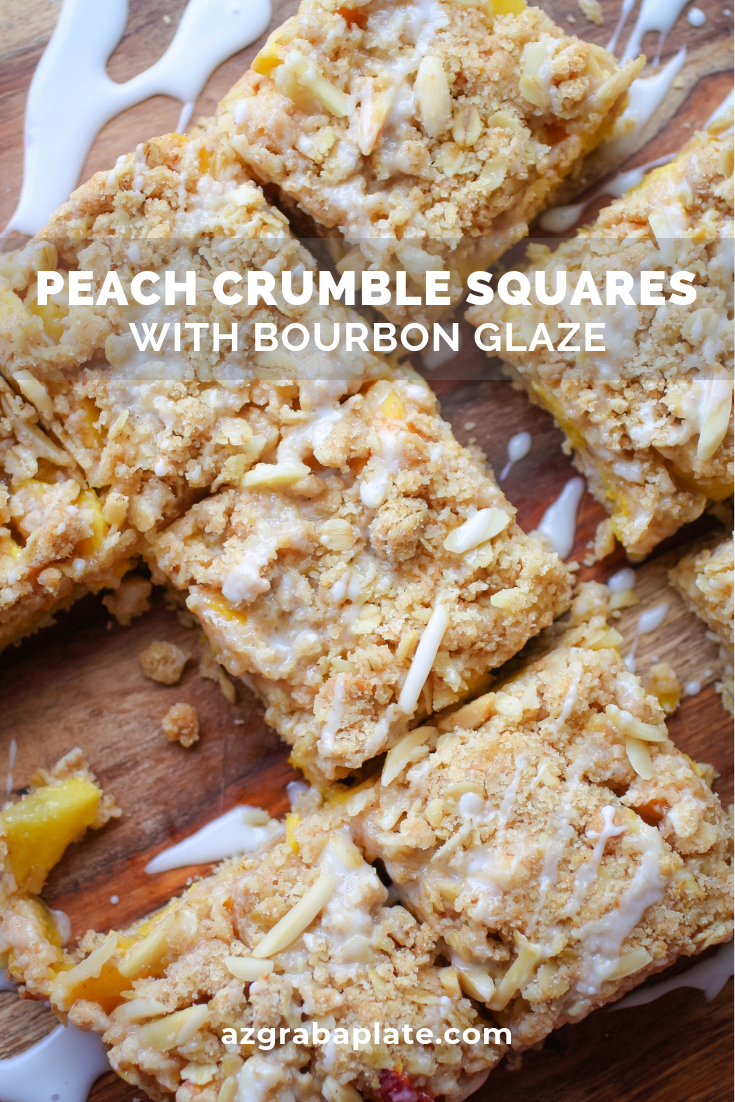 Peach Crumble Squares with Bourbon Glaze are one of my favorite treats for the summer season! Peach Crumble Squares with Bourbon Glaze use summer's peaches to make a scrumptious treat!