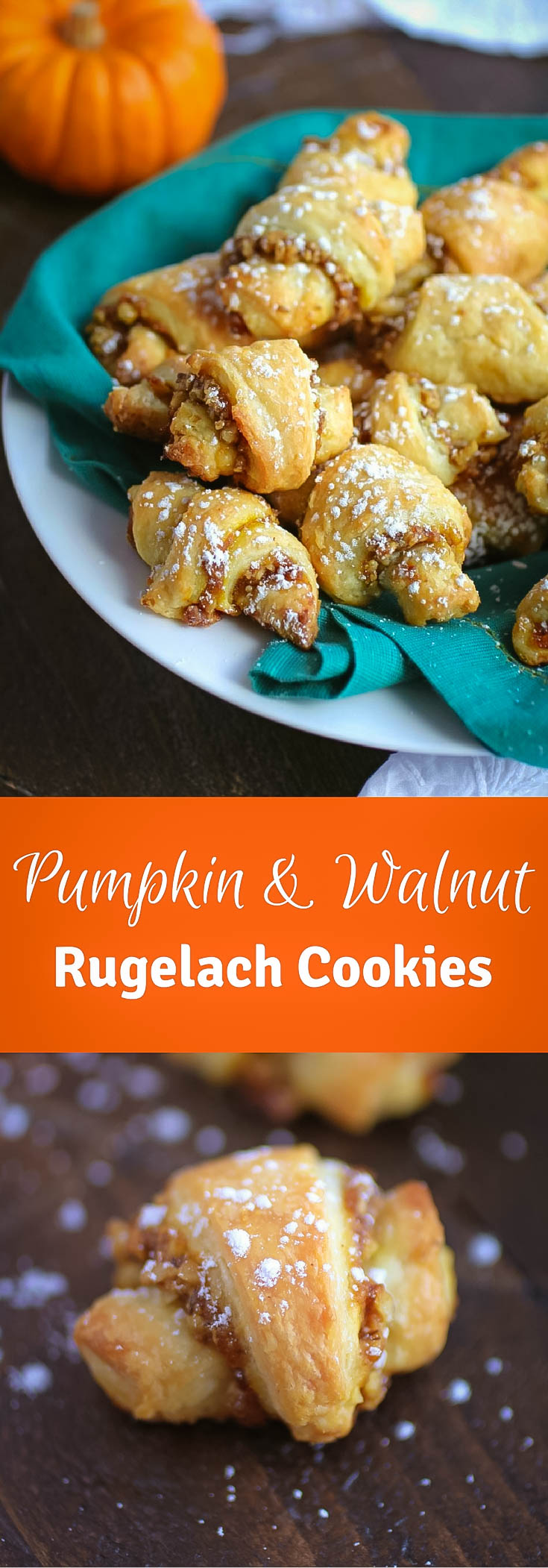 Pumpkin and Walnut Rugelach Cookies are a delight for any celebration! You'll love these Pumpkin and Walnut Rugelach Cookies!