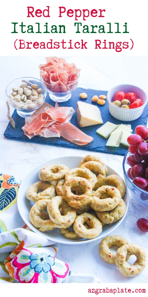 Red Pepper Italian Taralli (Breadstick Rings) are a fabulous snack! Serve Red Pepper Italian Taralli (Breadstick Rings) with a cheese platter, or on their own as a savory snack!