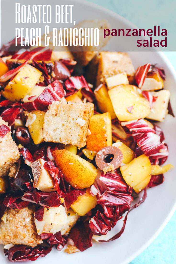 Roasted Beet, Peach & Radicchio Panzanella Salad includes so much fabulous flavor in a hearty salad. Roasted Beet, Peach & Radicchio Panzanella Salad is one you'll want to dig into all summer!