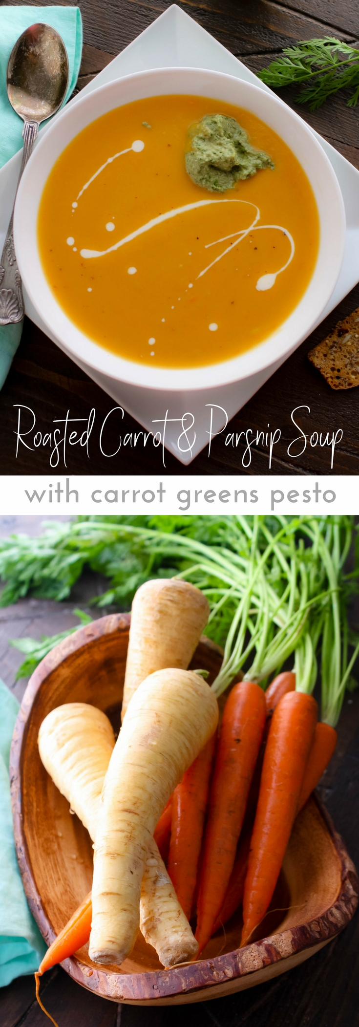 Roasted Carrot and Parsnip Soup with Carrot Greens Pesto is a delightful dish for any night of the week, including Meatless Mondays! Whip up a batch of Roasted Carrot and Parsnip Soup with Carrot Greens Pesto soon!