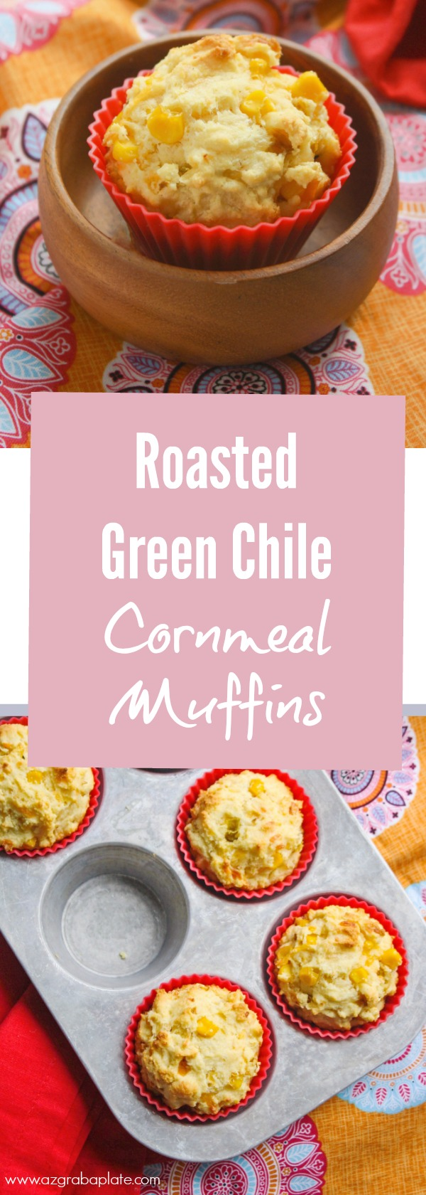 Roasted Green Chile Cornbread Muffins are a real treat to serve on the side of so many meals. They're tasty with chicken, chili, salad, and more!
