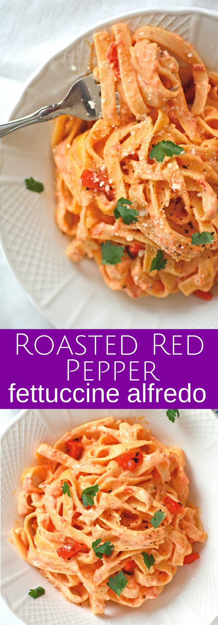 Roasted Red Pepper Fettuccine Alfredo is an easy-to-make and delicious pasta dish everyone will love! It's big on flavor!