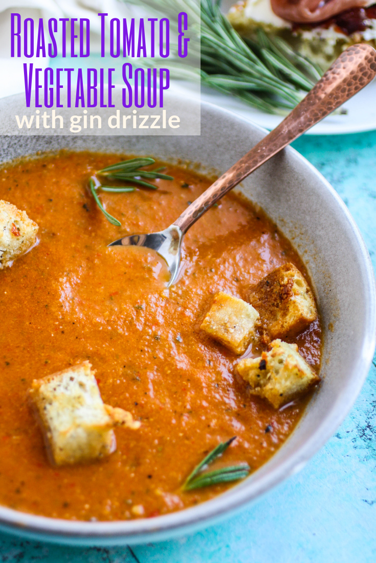 Roasted tomato and vegetable soup with gin drizzle is ideal for the summer season. Use your summer veggies to make Roasted tomato and vegetable soup with gin drizzle.