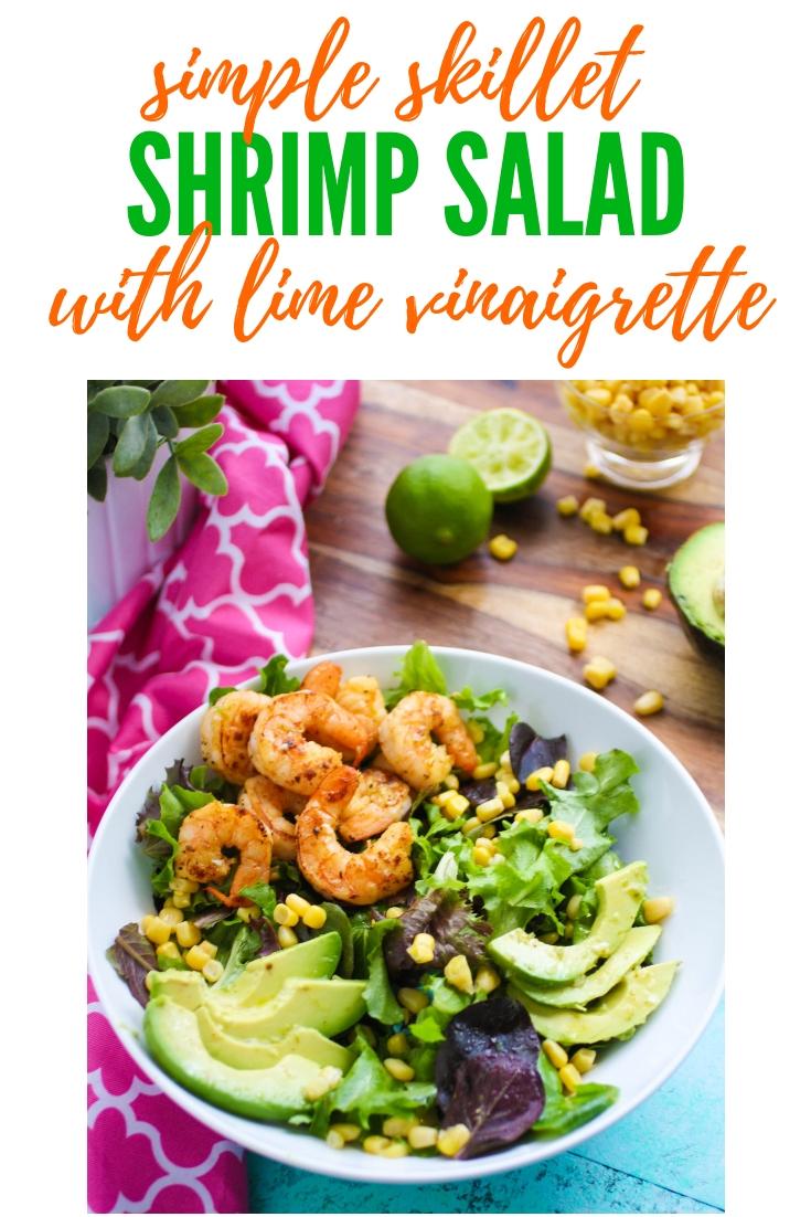 Simple Skillet Shrimp Salad with Lime Vinaigrette is a light and yet filling meal. Shrimp Veracruz recipe. Shrimp Veracruz is a fabulous salad for any night. Try Simple Skillet Shrimp Salad with Lime Vinaigrette a try tonight!