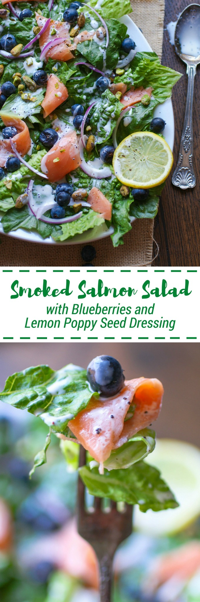 Smoked Salmon Salad with Blueberries and Lemon Poppy Seed Dressing is perfect for a summer meal. No need to turn on the oven or sacrifice flavor!