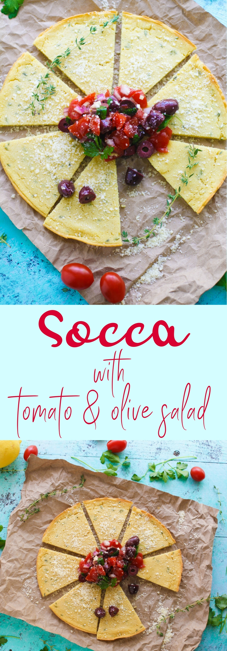 Socca (Chickpea Flour) Flatbread with Tomato and Olive Salad should be your next savory snack! You'll adore this gluten-free Socca (Chickpea Flour) Flatbread with Tomato and Olive Salad!