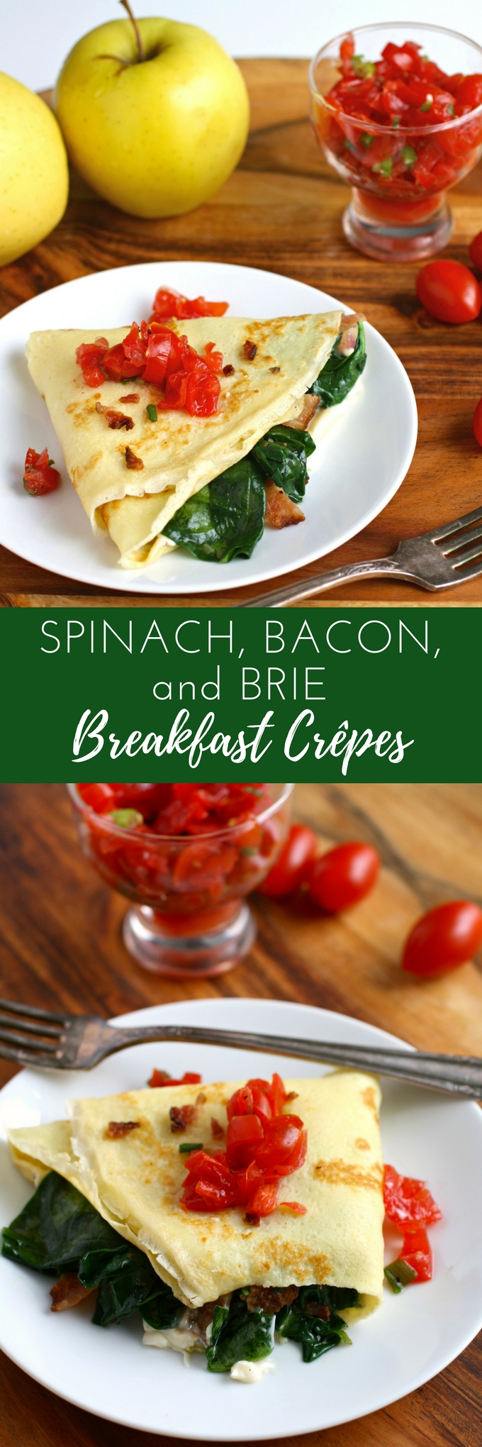 Spinach, Bacon, and Brie Breakfast Crêpes are a treat for breakfast or brunch! These crêpes are so tasty for a special breakfast!