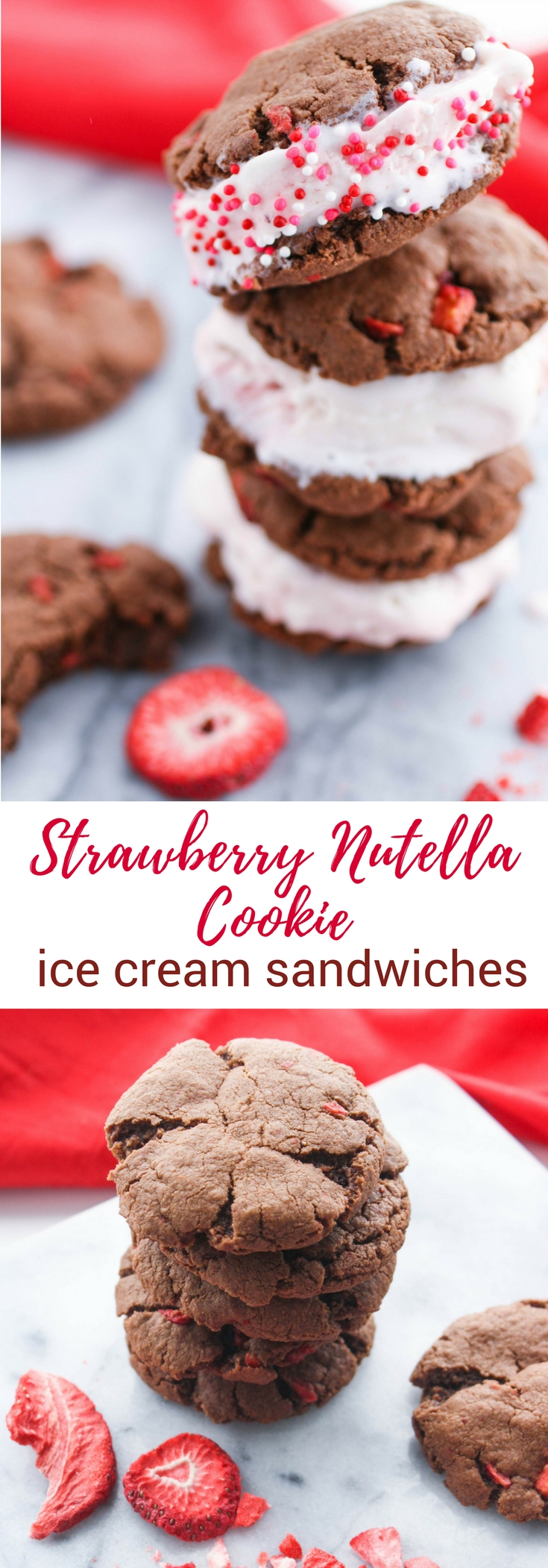 Strawberry-Nutella Cookie Ice Cream Sandwiches are a fun dessert any time of year. You'll love these Strawberry-Nutella Cookie Ice Cream Sandwiches!