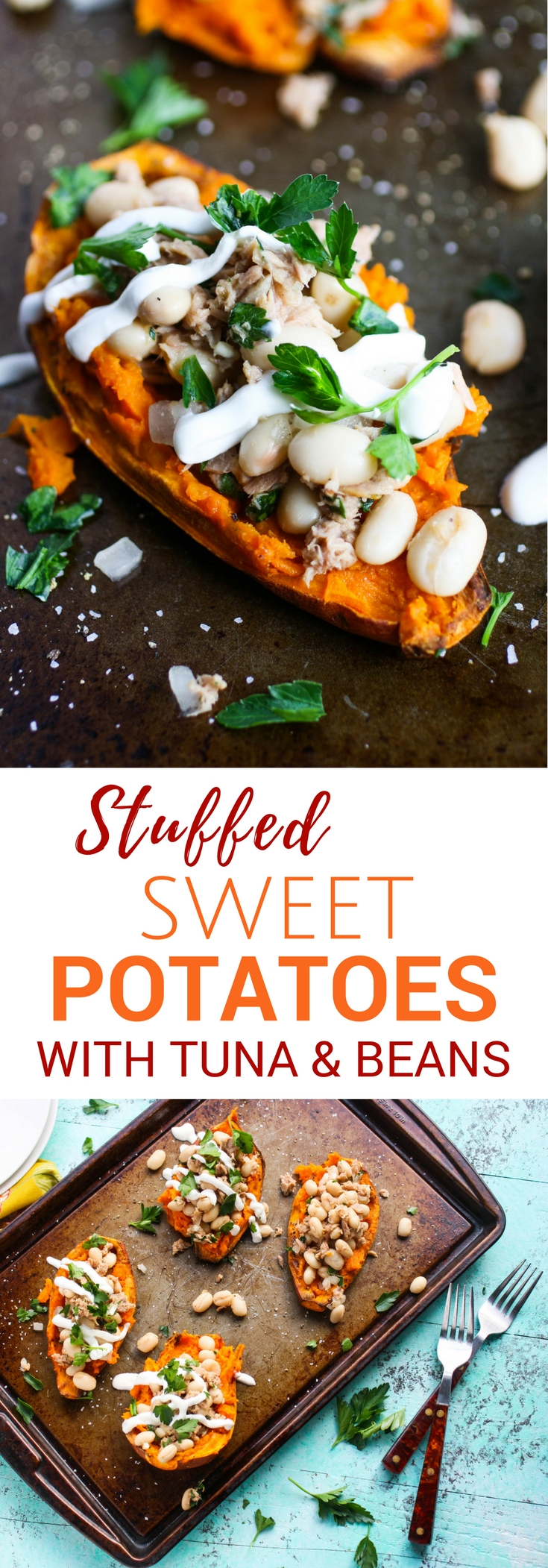 Stuffed Sweet Potatoes with Tuna and Beans are so tasty! You'll devour these stuffed sweet potatoes -- they're easy to make and so tasty, too!
