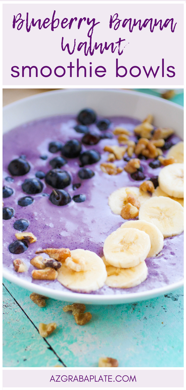 Blueberry Banana Walnut Smoothie Bowls are delicious for breakfast. Blueberry Banana Walnut Smoothie Bowls are so tasty, and a colorful way to start your day.