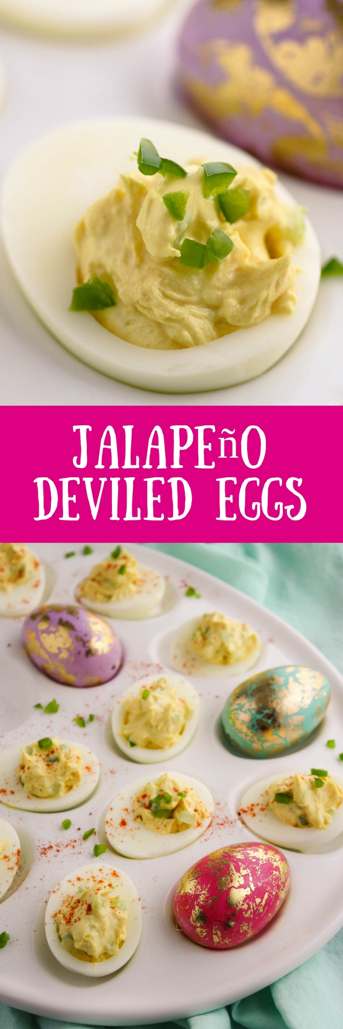 Jalapeño Deviled Eggs are a fun way to start a celebration! Make them for your next get together!