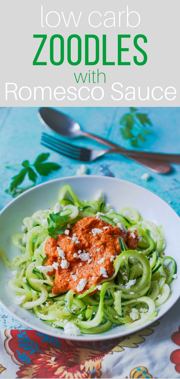 Low carb zoodles with Romesco sauce is a healthy, tasty dish that's easy to make. Low carb zoodles with Romesco sauce makes a great meatless dish that's also low carb!