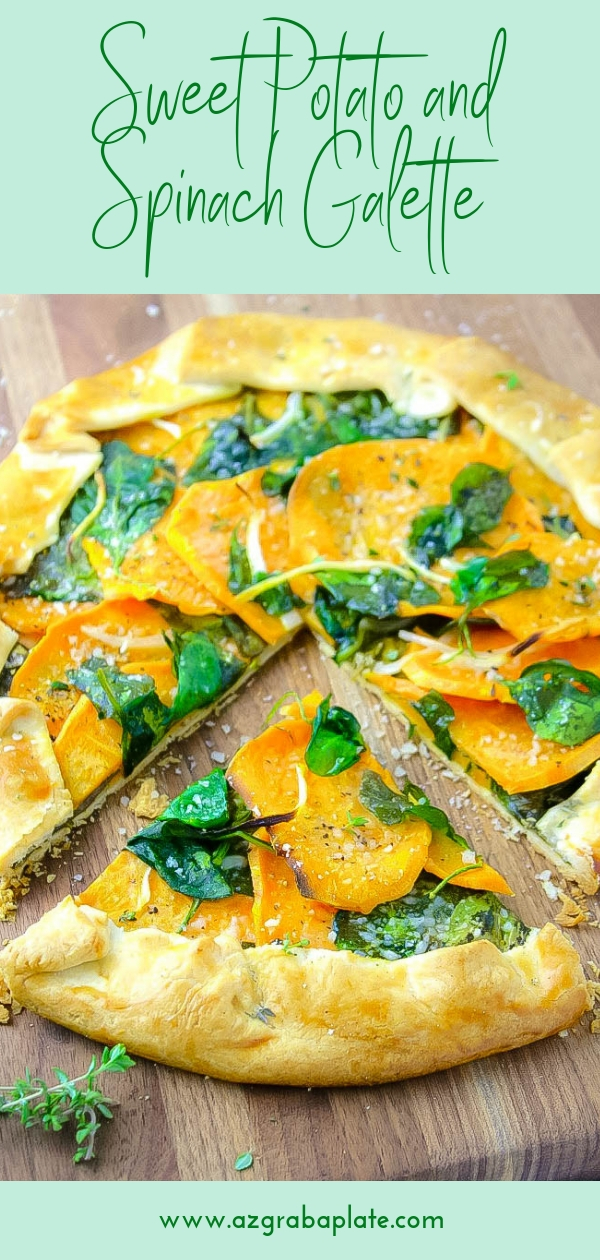 This Sweet Potato and Spinach Galette is a simple, delicious dish that's perfect on a Meatless Monday. You'll love this Sweet Potato and Spinach Galette for any meal.
