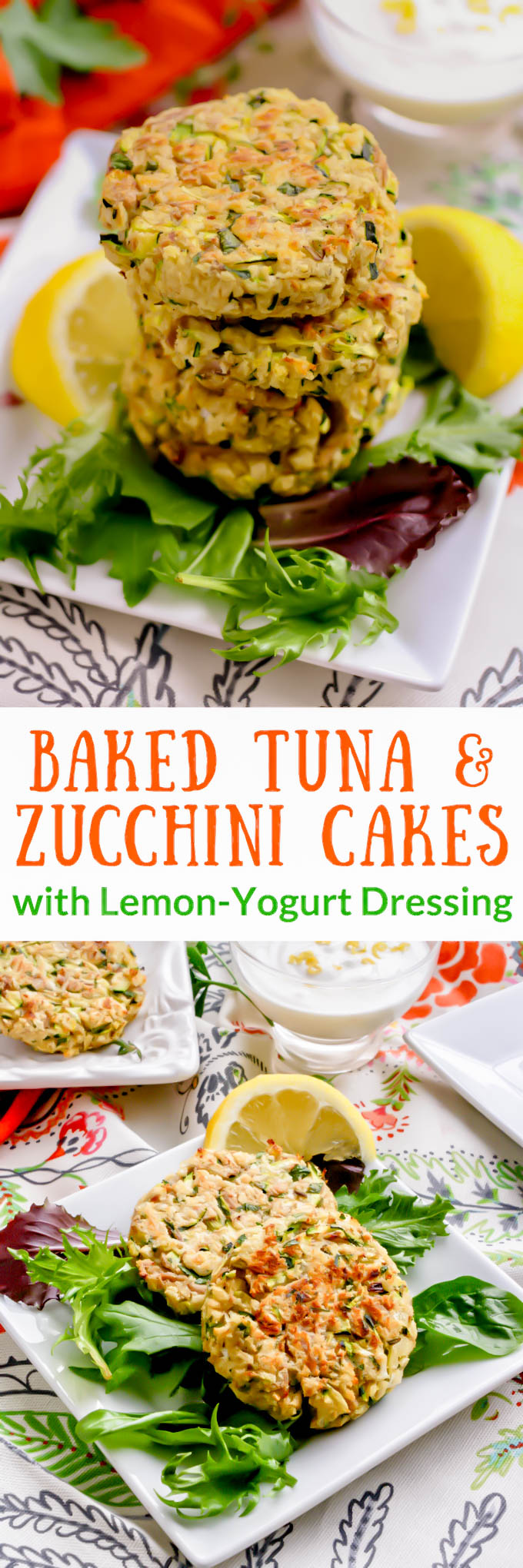 Baked Tuna and Zucchini Cakes with Lemon-Yogurt Dressing are perfect for a snack or as part of a lighter meal. You'll love how fresh Baked Tuna and Zucchini Cakes with Lemon-Yogurt Dressing make an ideal springtime snack. Enjoy Baked Tuna and Zucchini Cakes with Lemon-Yogurt Dressing are, and they're easy to make, too!