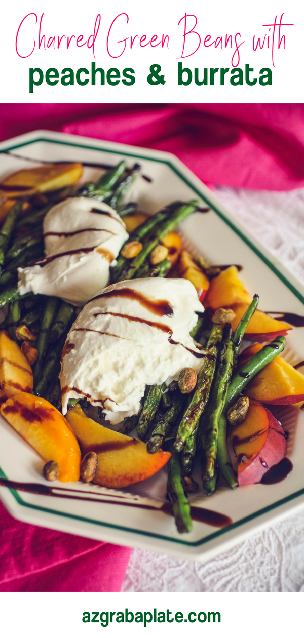 Charred Green Beans with Burrata and Peaches is a delightful summer salad. Charred Green Beans with Burrata and Peaches is a fun and easy to make salad to serve this summer.