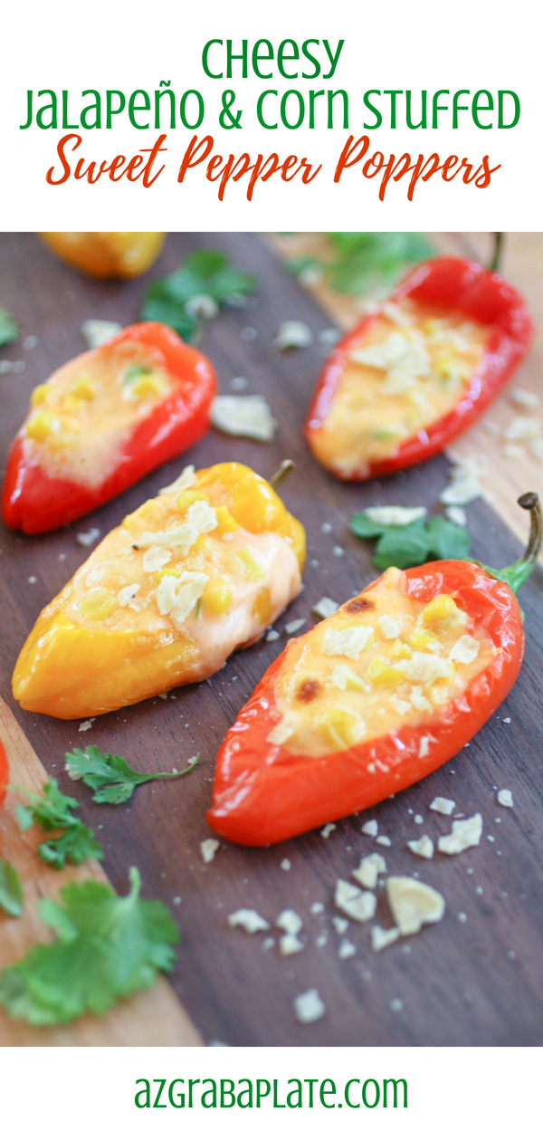 Cheesy Jalapeño & Corn Stuffed Sweet Pepper Poppers are super-fun for your next party! Cheesy Jalapeño & Corn Stuffed Sweet Pepper Poppers make a fun and festive appetizer!