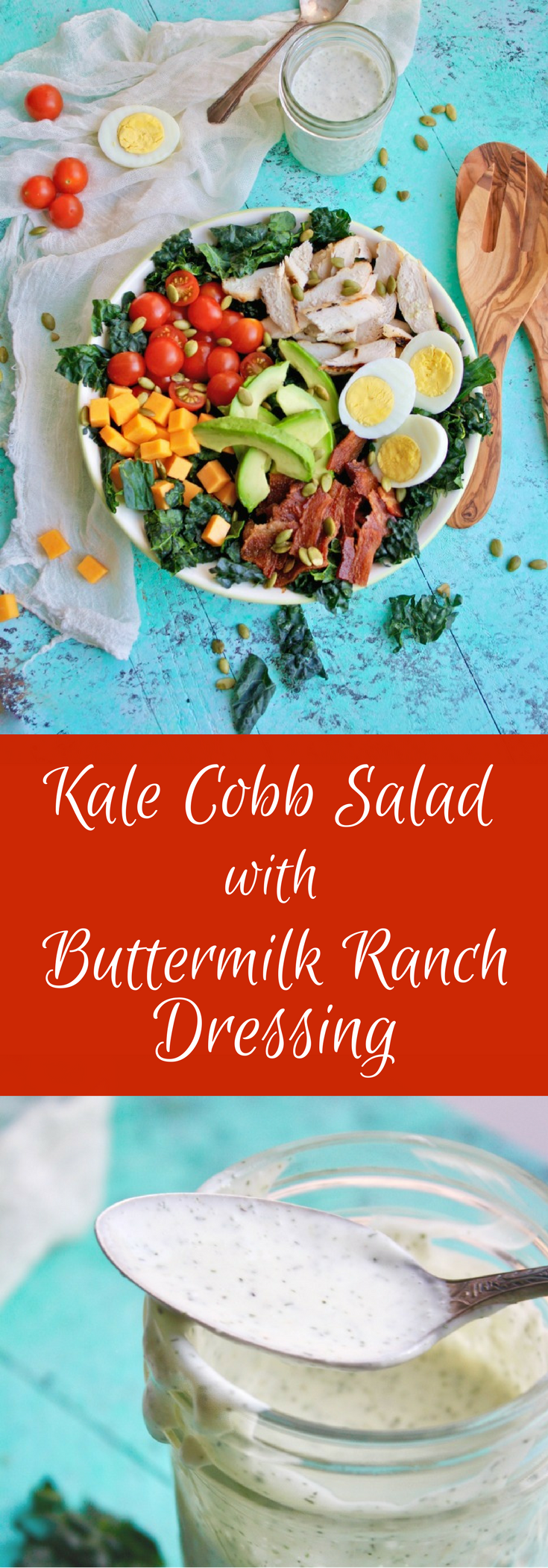 Sometimes a hearty salad is just what you need! Kale Cobb Salad with Buttermilk Ranch Dressing fills the bill!