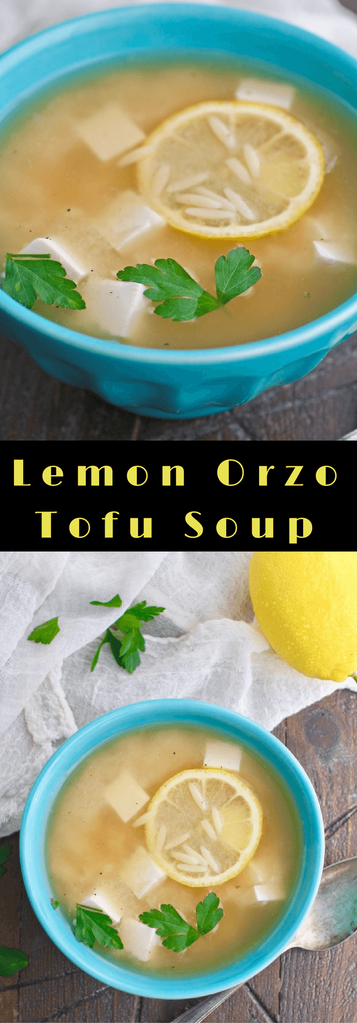 Lemon Orzo Tofu Soup is fun for a fresh dish. You'll love the flavors!