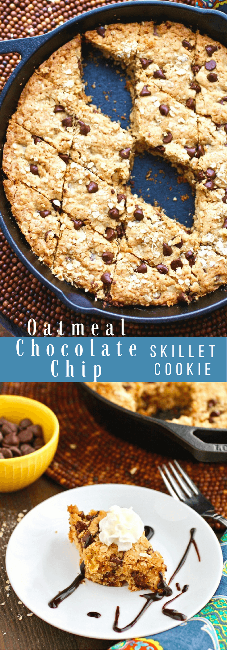 Get ready for a fun dessert! This Oatmeal-Chocolate Chip Skillet Cookie recipe is easy to make and fun to enjoy!