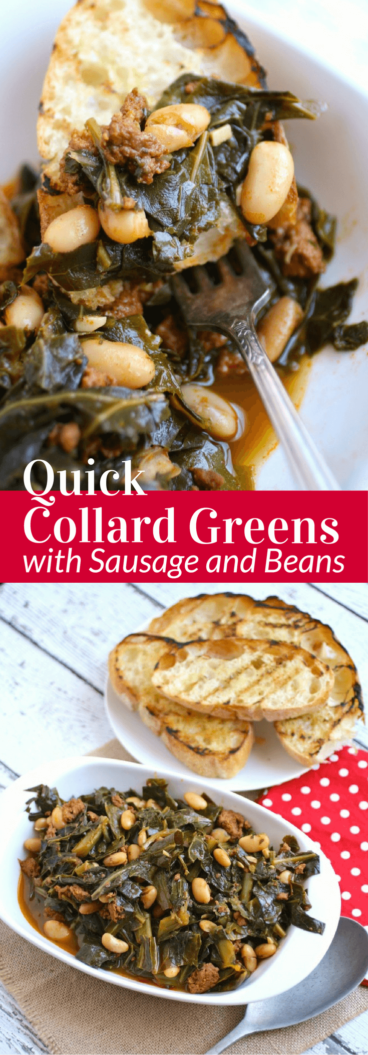Enjoy Quick Collard Greens with Sausage and Beans as a traditional side dish on New Year's Day!
