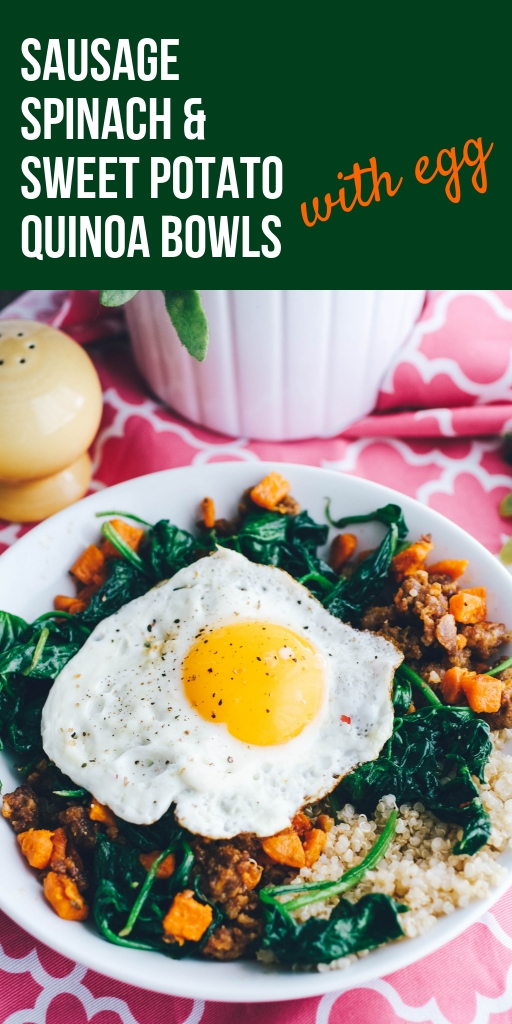 Sausage, Sweet Potato & Spinach Quinoa Bowls with Egg make a great breakfast dish! You can serve Sausage, Sweet Potato & Spinach Quinoa Bowls with Egg for any meal, but especially breakfast!