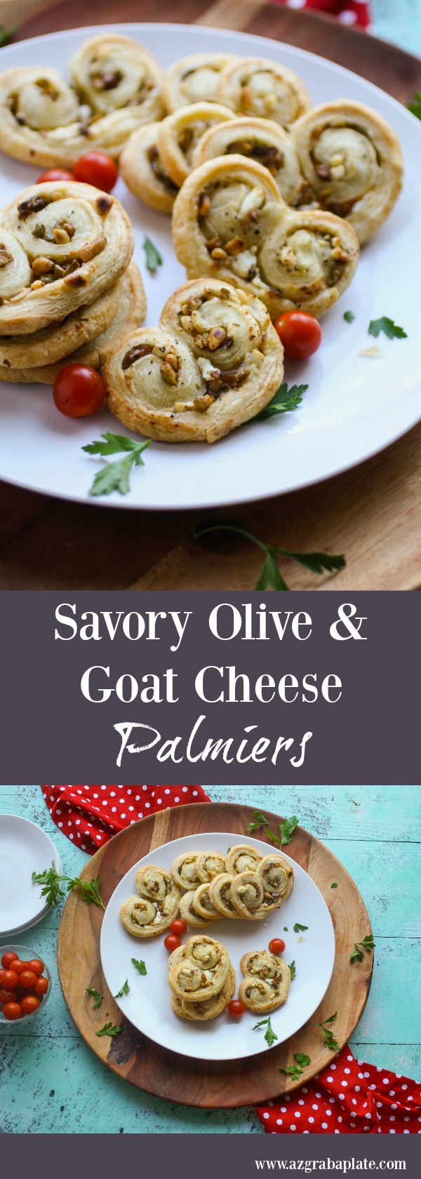 Savory Olive and Goat Cheese Palmiers are a fun appetizer for your next party. They're big on flavor and so easy to make, too!