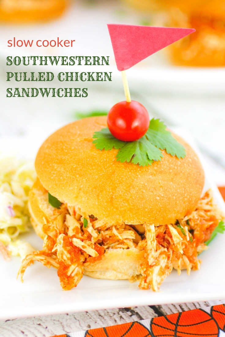Slow Cooker Southwestern Pulled Chicken Sandwiches are ideal for a party or get together! Slow Cooker Southwestern Pulled Chicken Sandwiches are so tasty and easy to make, too!