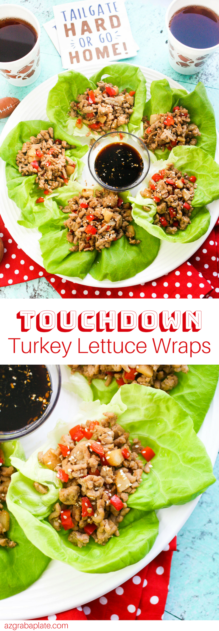 Touchdown Turkey Lettuce Wraps are so fun and tasty to serve for a game-day gathering! Touchdown Turkey Lettuce Wraps make a healthy and delicious game-day menu option!
