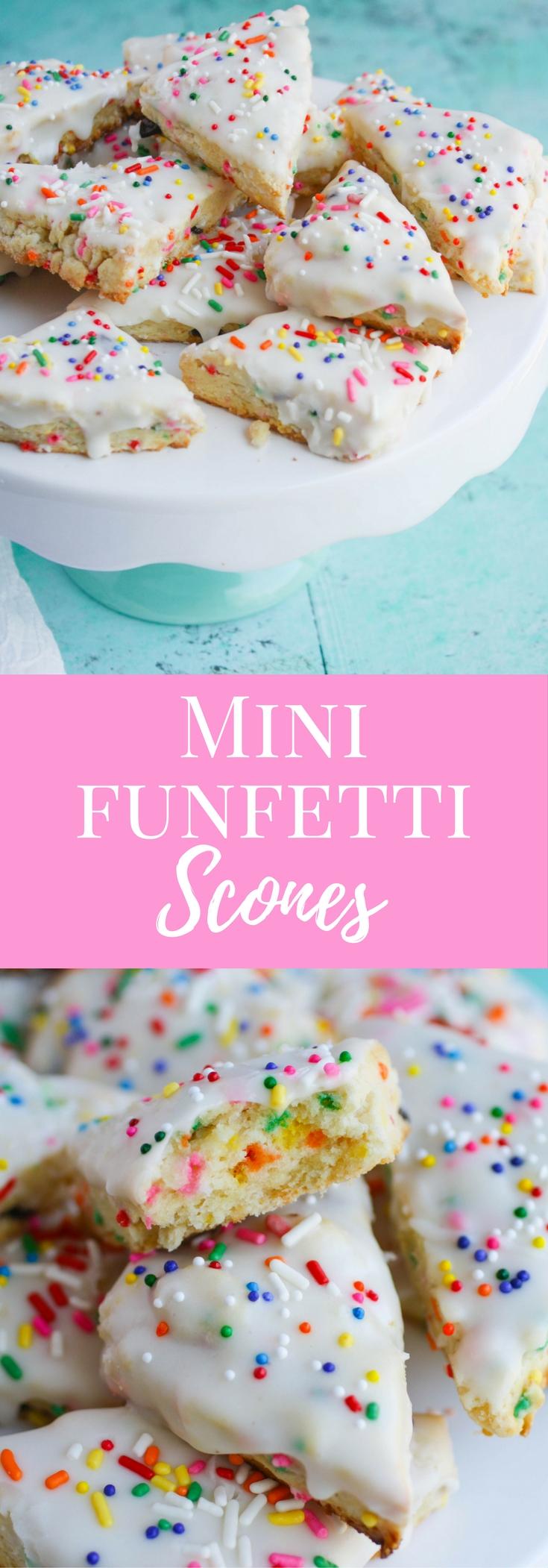 Mini Funfetti Scones are super fun for any occasion! This dessert is also perfect for a breakfast treat!