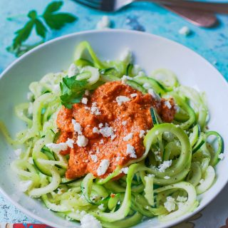 Low carb zoodles with Romesco sauce is a flavorful and easy-to-make dish! Low carb zoodles with Romesco sauce is so tasty!