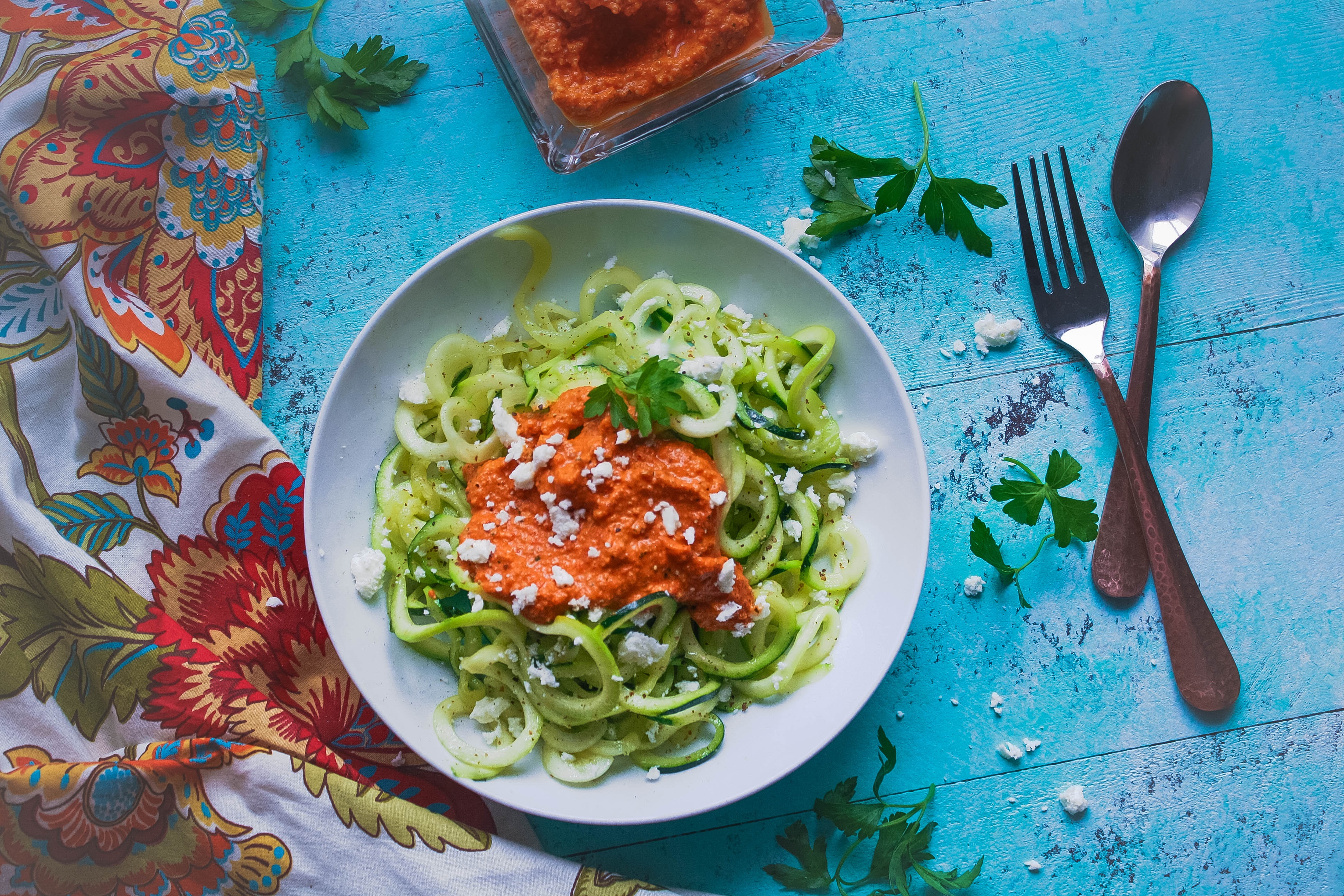 Low carb zoodles with Romesco sauce is a healthy meal you should make soon. Low carb zoodles with Romesco sauce is a delight, and it's so easy to make, too.