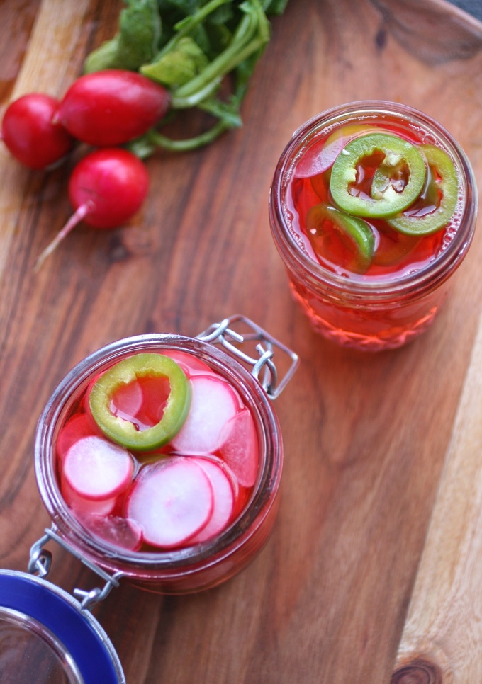 Quick, Spicy Pickled Radishes are fun to serve with pretty much any dish!