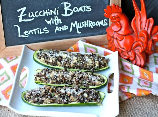 Zucchini Boats Stuffed with Black Lentils & Mushrooms
