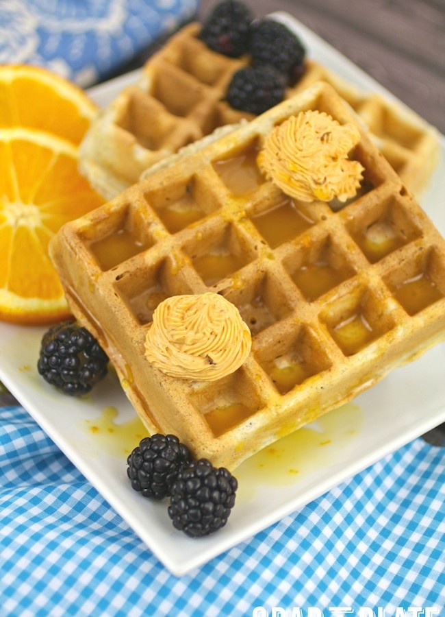 Blue Cornmeal Waffles with Chipotle Butter and Orange Syrup #MeatlessMonday