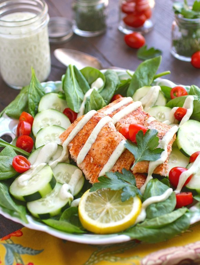 Spinach & Salmon Salad with Creamy Dairy-Free Herbed Dressing