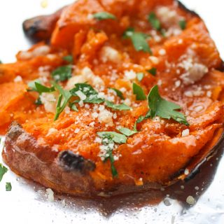 Maple Chipotle Parmesan Smashed Sweet Potatoes is an easy-to-make side dish perfect anytime. These sweet potatoes are lovely combined with maple syrup, chipotle chili powder and Parmesan!